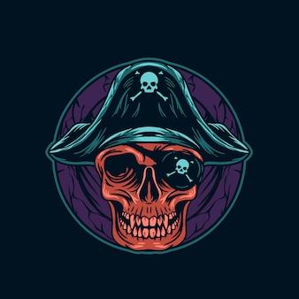 Illustrazione della testa del cranio del pirata