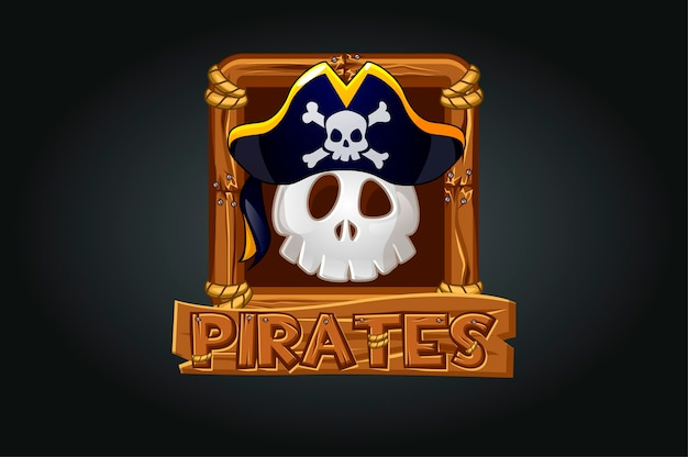 Icona del teschio pirata nella cornice per il gioco. teschio spaventoso in un cappello su uno sfondo grigio in una cornice di legno.