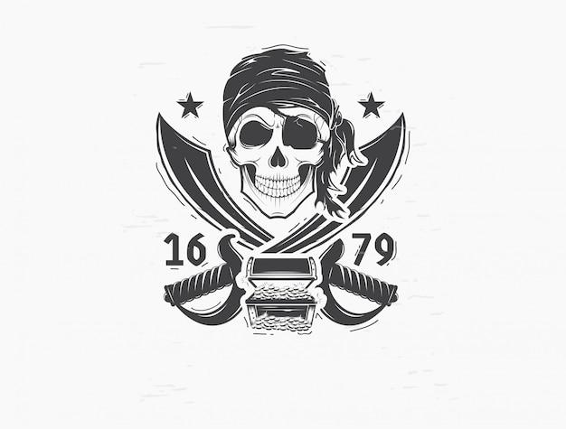 Logo teschio pirata. elemento di design per il logo
