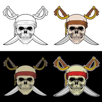 Teschio pirata con spada incrociata sullo sfondo