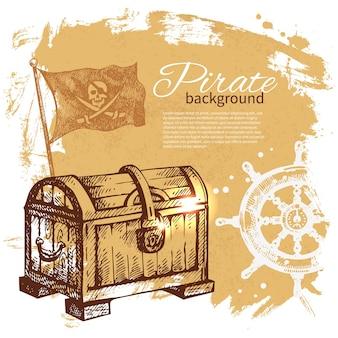 Sfondo vintage pirata. design nautico di mare. illustrazione disegnata a mano