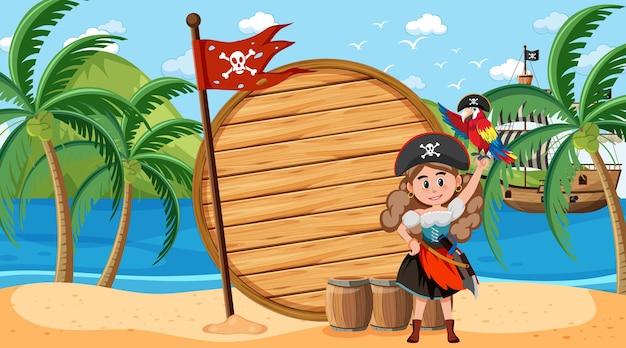 Donna pirata sulla scena diurna in spiaggia con un modello di banner vuoto