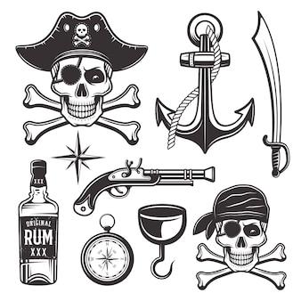 Insieme di attributi di pirati di oggetti ed elementi grafici in stile monocromatico