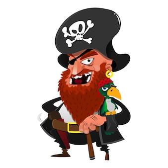 Il capitano dei pirati con il pappagallo indossa il costume dell'equipaggio della nave, ideale per il design con temi di halloween