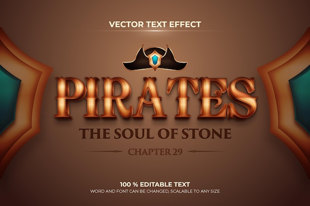 Effetto di testo 3d modificabile dei pirati con stile di sfondo marrone