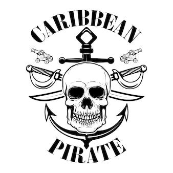 Pirati. modello dell'emblema con spade e teschio pirata. elemento per logo, etichetta, emblema, segno. illustrazione