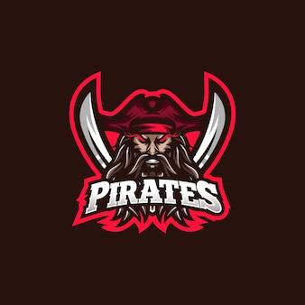 Modello di logo della mascotte di gioco di pirati esport
