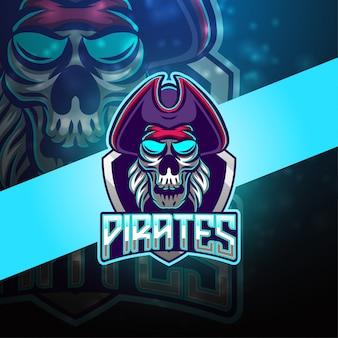 Progettazione del logo mascotte esport pirati