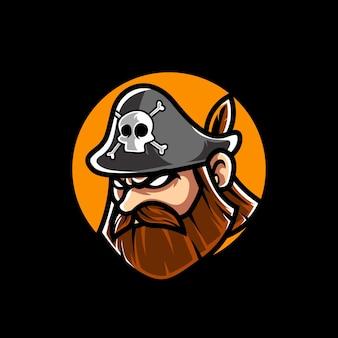 Logo della mascotte dello sport della testa dei pirati