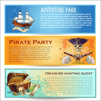 Set di bandiere orizzontali di pirati