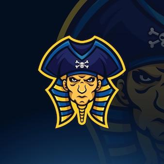 Modello di logo della mascotte di esportatore di pirati faraone