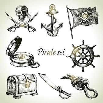 Pirati impostati. illustrazioni disegnate a mano