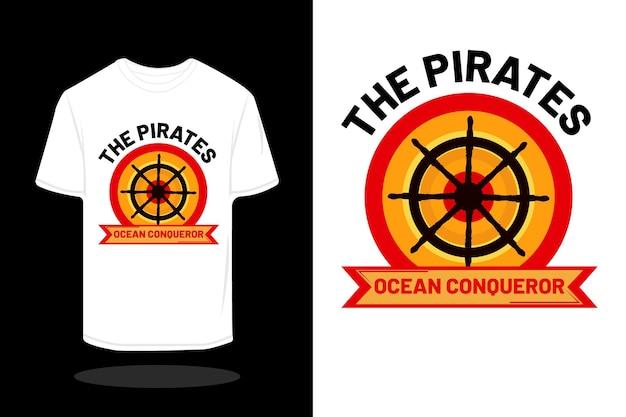 Il design retrò della maglietta della silhouette dei pirati
