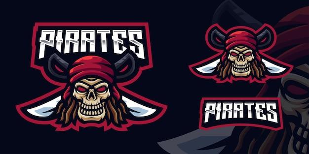Modello di logo della mascotte del gioco del teschio dei pirati per lo streamer di esports facebook youtube