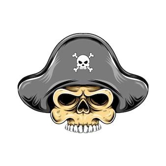Testa di teschio dei pirati con il cappello dei pirati per l'ispirazione del logo della grande nave