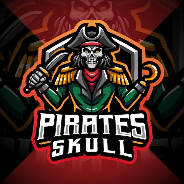 Design del logo di gioco della mascotte del cranio dei pirati