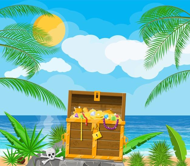 Isola dei tesori dei pirati con baule
