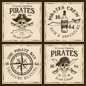 Emblemi vintage di pirati o stampe di t-shirt su sfondo grunge