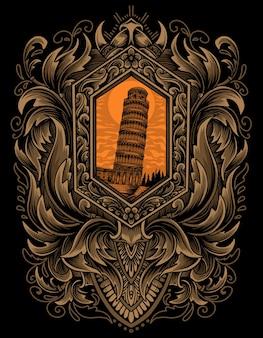 Torre di pisa con ornamento incisione d'epoca