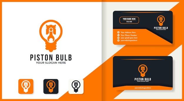 Design del logo e biglietto da visita della lampadina del pistone