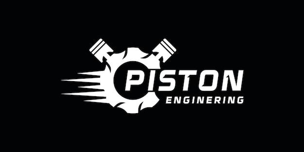 Design del logo creativo del motore a pistone, logo per officina, corse e riparazioni