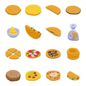 Set di icone di pane pita. set isometrico di pane pita