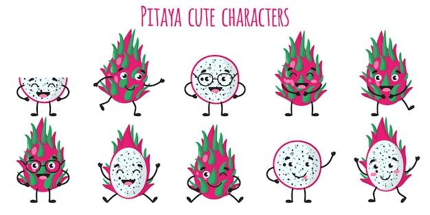 Pitaya frutta simpatici personaggi allegri divertenti con diverse pose ed emozioni