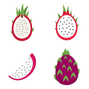 Set di icone di pitaya Vettore Premium