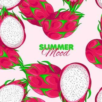 Modello senza cuciture pitaya summer mood con dragon fruit