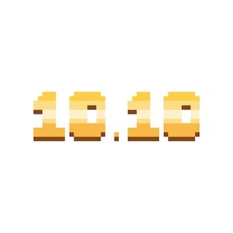 Pixel art 1010 design del testo cromato dorato