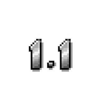 Pixel art 11 design del testo cromato argento