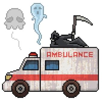 Pixel art dello spirito della morte dell'ambulanza