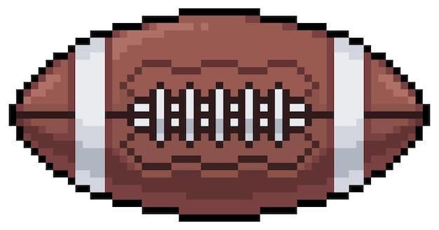 Icona della sfera di football americano di pixel art per bit di gioco su priorità bassa bianca