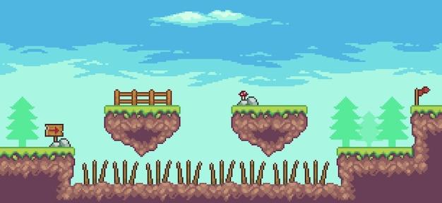 Pixel art arcade game scene 8bit con piattaforma galleggiante, alberi, nuvole e bandiera