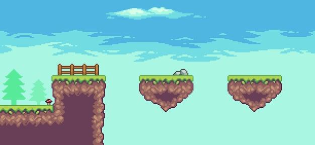 Pixel art arcade game scene 8bit con piattaforma galleggiante, alberi, recinzione e nuvole
