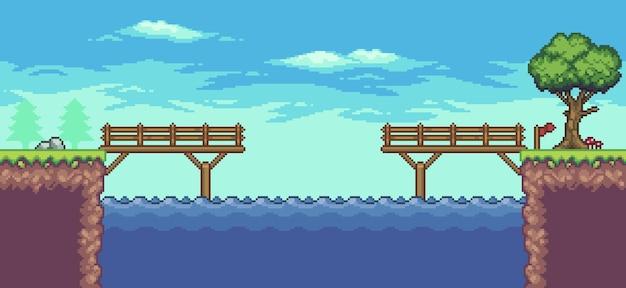 Pixel art scena di gioco arcade con piattaforma galleggiante ponte sul fiume alberi e nuvole 8 bit