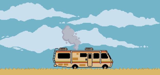 Sfondo pixel art con trailer nel deserto e scena di cielo nuvoloso per gioco a 8 bit