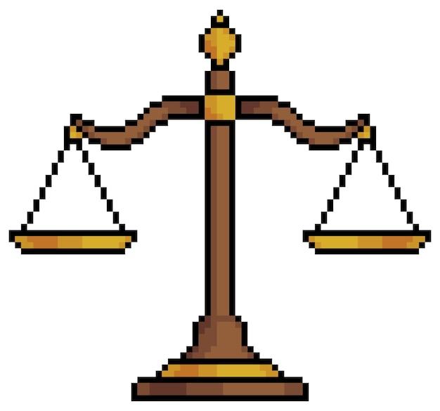 L'equilibrio dell'arte del pixel ridimensiona l'elemento della giustizia del simbolo per il gioco a 8 bit su sfondo bianco