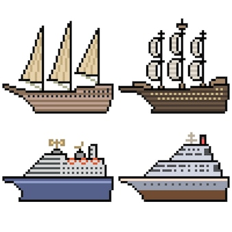 Pixel art della grande nave da crociera