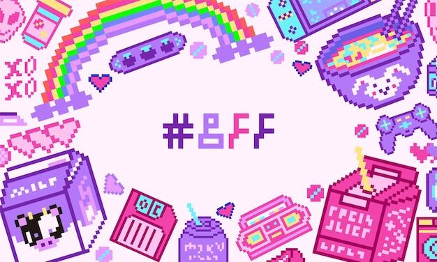Pixel art bit oggetti poster o banner retrò gioco digitale asset sfondo set di moda rosa