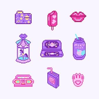 Pixel art bit oggetti retrò gioco digitale asset set di icone di moda rosa adesivi vintage girly