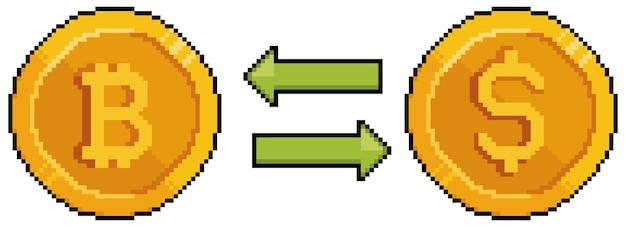 Pixel art bitcoin e dollar, converti bitcoin in dollaro. investimenti e finanza. gioco a 8 bit su sfondo bianco