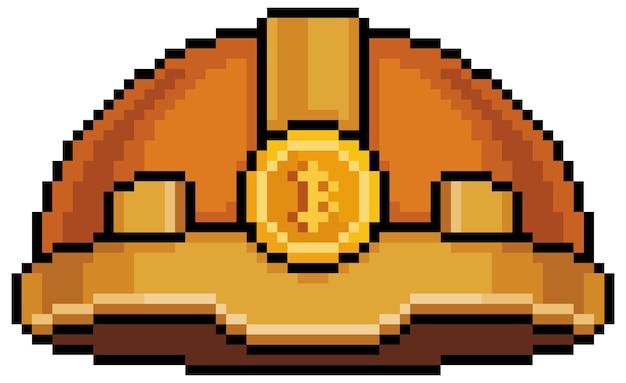 Pixel art bitcoin minatore casco icona per il gioco a 8 bit su sfondo bianco