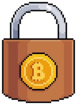 Pixel art bitcoin lucchetto investimento sicuro in criptovalute elemento di gioco a 8 bit su sfondo bianco