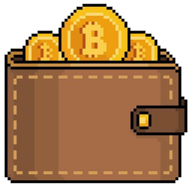 Portafoglio bitcoin pixel art investimento in icona di criptovalute per gioco a 8 bit su sfondo bianco