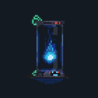 Globo di fuoco blu pixel art nel tubo del laboratorio