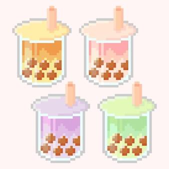 Pixel art di boba drink con vari gusti