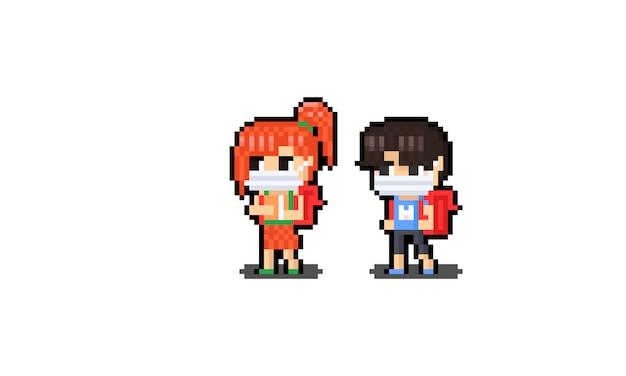 Maschere da portare del carattere del ragazzo e della studentessa di arte del pixel.