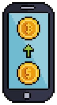 Pixel art acquista bitcoin sull'investimento del telefono cellulare nell'icona delle criptovalute per il gioco a 8 bit su bianco