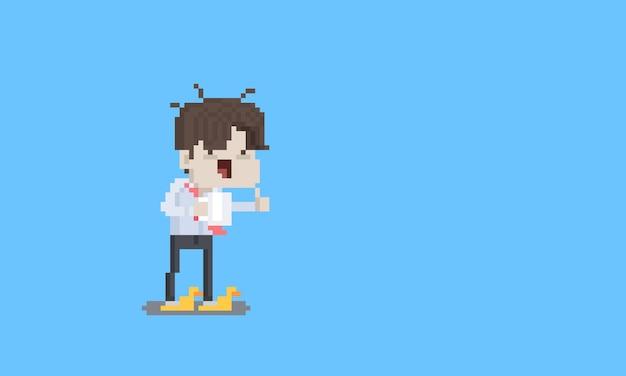 Carattere dell'uomo di stipendio stanco divertente del fumetto di arte del pixel.
